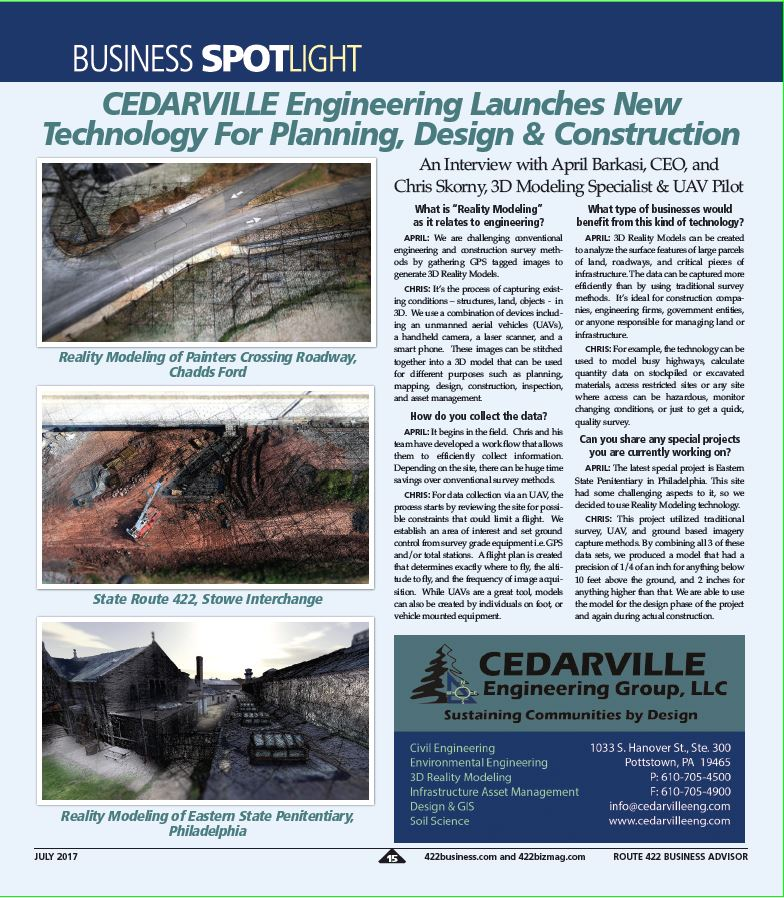 CEDARVILLE Engineering Launches New Technology For Planning, Design & Construction